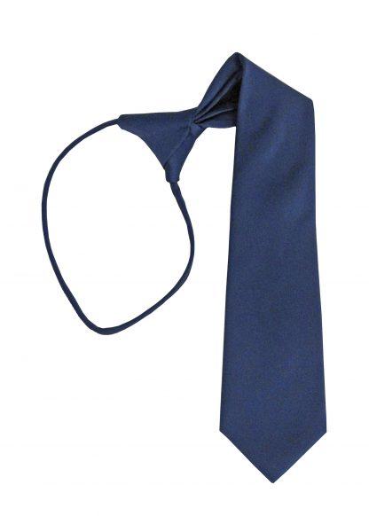 """14"""" Boy's Navy Solid Zipper Tie 6567-0"""