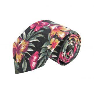Black, Burgundy Floral Cotton Men's Tie 4096-0