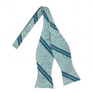 Blue, Teal Paisley Self Tie Bow Tie 10236-0