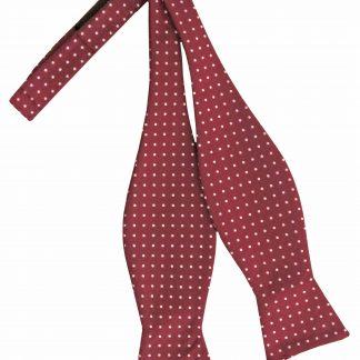 Burgundy, White Pindot Self Tie Bow Tie 3955-0