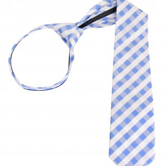 "17"" Boy's Blue, White Criss Cross Zipper Tie 1828-0"