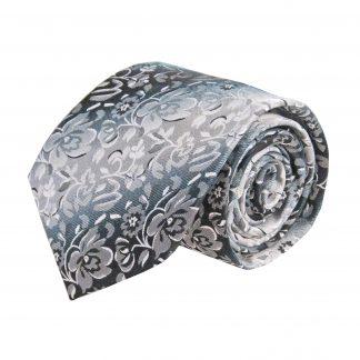 Black, Gray Floral Faded Stripe Men's Tie 9130-0