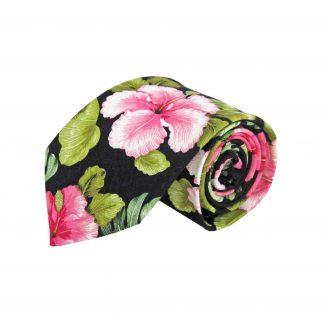 Black, Pink, Green Floral Cotton Men's Tie 2261-0