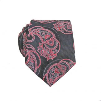 Black, Red Paisley Skinny Men's Tie w/Pocket Square 4451-0