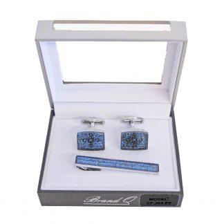 Blue Sparkle Tie Bar and Cufflinks 2427-0