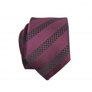 Burgundy, Black Stripe Skinny Men's Tie w/Pocket Square 3218-0