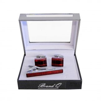 Red Rectangle Tie Bar and Cufflinks 6175-0
