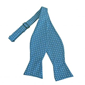 Teal, Gray Small Square Pattern Self Tie Bow Tie 10677-0