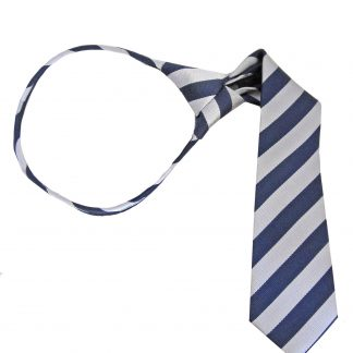 "11"" Boy's Navy, Silver Stripe Zipper Tie 1032-0"