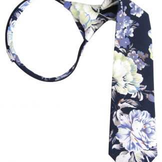 "14"" Boys Navy Floral Zipper Tie 11387-0"