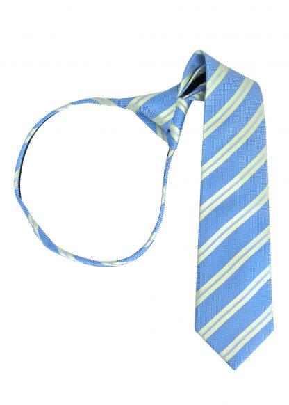 """14"""" Boy's Green, French Blue Stripe Zipper Tie 7570-0"""