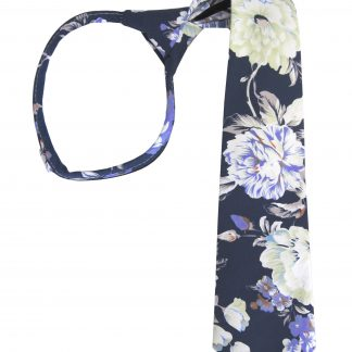 "17"" Boy's Navy Floral Zipper Tie 4988-0"