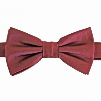 Boy's Burgundy Solid Banded Bow Tie w/Pocket Square 11483-0