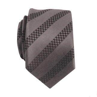 Charcoal, Black Stripe Skinny Men's Tie 2267-0