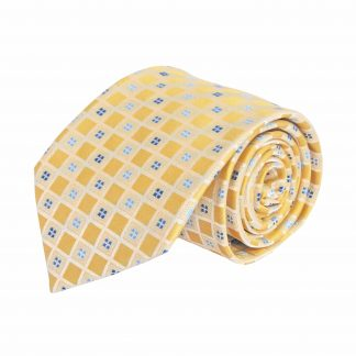 Yellow, Blue Small Squares Pattern Men's Tie 3719-0