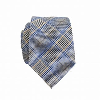 Blue, Khaki Plaid Cotton Skinny Men's Tie 9939-0