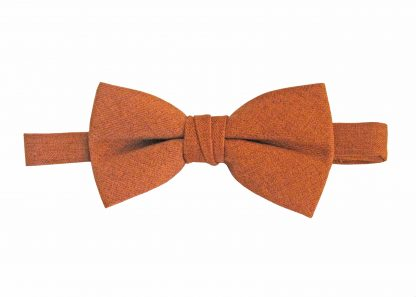 Rust Marbled Solid Cotton Banded Bow Tie 10753-0