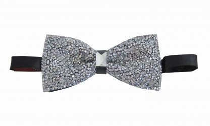 Silver Glitter Banded Bow Tie 2414-0