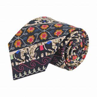 Tan, Navy, Orange, Royal, Fuschia Ethnic Print Cotton Men's Tie 2169-0