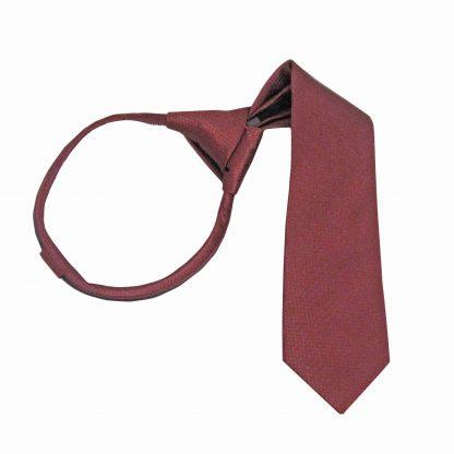 """11"""" Boy's Burgundy Tone on Tone Zipper Tie 8575-0"""