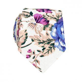 Cream, Lavender, Taupe Floral Skinny Men's Tie 8593-0