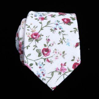 Cream, Burgundy, Green Floral Skinny Men's Tie 8783-0