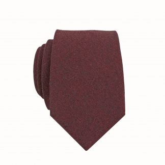 Dark Burgundy, Black Solid Skinny Men's Tie 10863-0