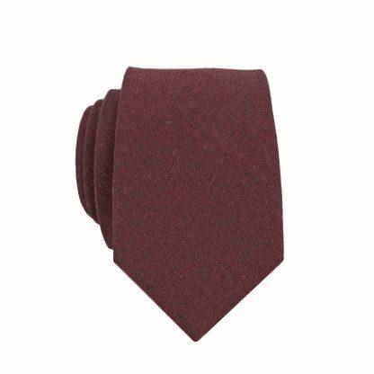 Dark Burgundy, Black Solid Skinny Men's Tie 10863-0
