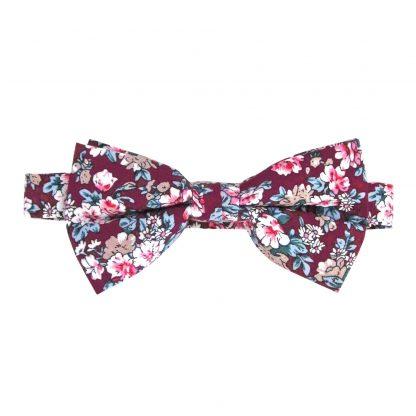 Burgundy, Khaki Floral Banded Bow Tie 3687-0