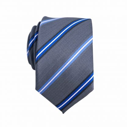 Royal Blue, Gray Stripe Skinny Men's Tie 1619-0