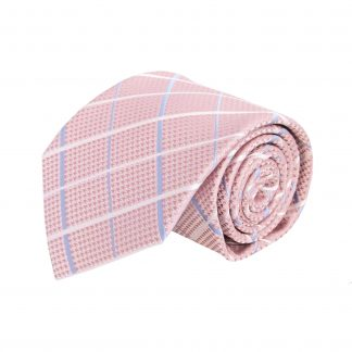 Pink, Light Blue, White Criss Cross Men's Tie w/Pocket Square 8605-0