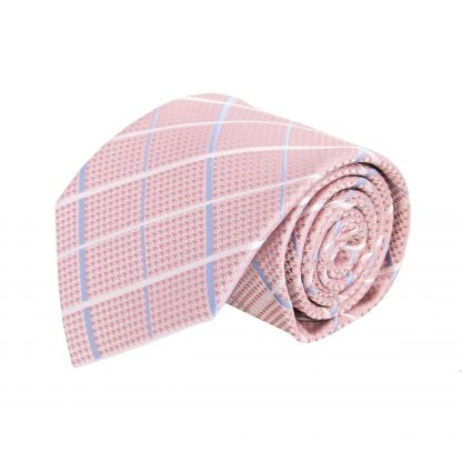 Pink, Light Blue, White Criss Cross Men's Tie w/Pocket Square 8605-0