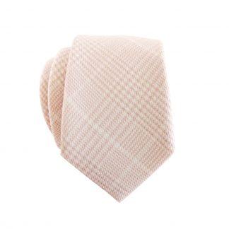 Peach, Creme Plaid Cotton Skinny Men's Tie 8798-0