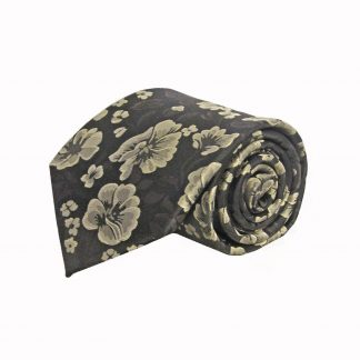 Brown, Taupe Floral Men's Tie w/Pocket Square 947-0