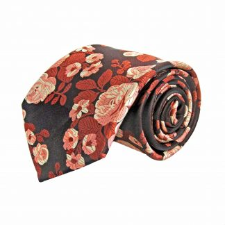 Burgundy, Rust Floral Men's Tie w/Pocket Square 2180-0