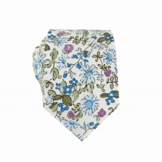 Creme, Blue, Green, Lavender Floral Skinny Cotton Men's Tie 3560-0