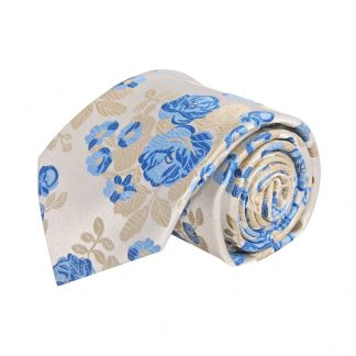 Creme, Blue, Large Floral Men's Tie w/Pocket Square 11473-0