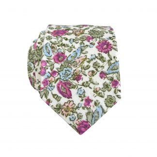 Creme, Green, Fuchsia, Light Blue Skinny Cotton Men's Tie 7801-0