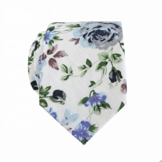 Creme, Light Blue, Green Skinny Cotton Men's Tie 1230-0