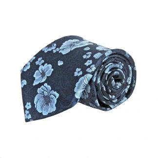 Navy, French Blue Floral Men's Tie w/Pocket Square 10524-0