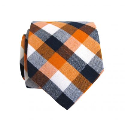 "49"" Boy's Orange, Black Check Cotton Tie 8397-0"