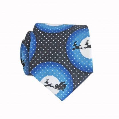 "49"" Boy's Self Tie Blue, Black, White Santa Moon Christmas Tie 8014-0"