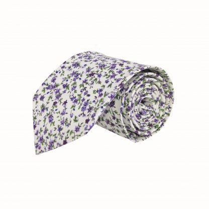 """63"""" XL Creme, Purple Floral Cotton Men's Tie 10765-0"""
