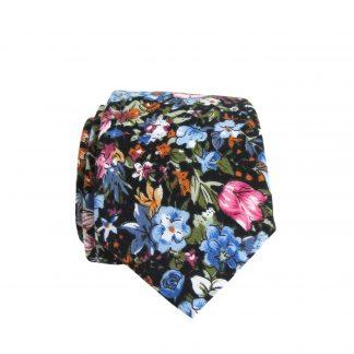 Black, Blue Small Flower Skinny Cotton Men's Tie 8078-0