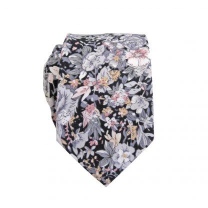Black, Gray, Mauve, Peach Skinny Cotton Men's Tie 3965-0