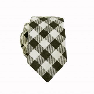 Black, White Buff Check Cotton Skinny Men's Tie 10505-0