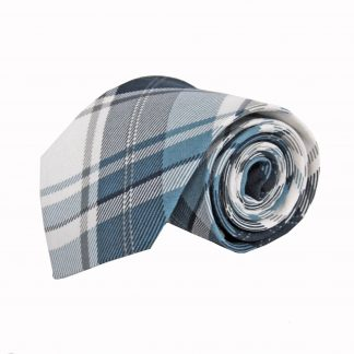 Blue, Navy, White Plaid Cotton Men's Tie 5644-0