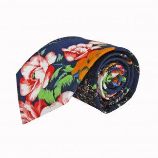 Blue, Red, Orange Large Floral Cotton Men's Tie 10043-0