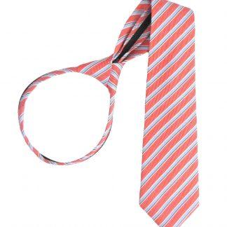 """17"""" Boy's Salmon, Light Blue Stripe Zipper Tie 4652-0"""
