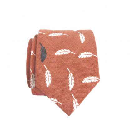 Coral, White Feathers Skinny Cotton Men's Tie 5671 -0
